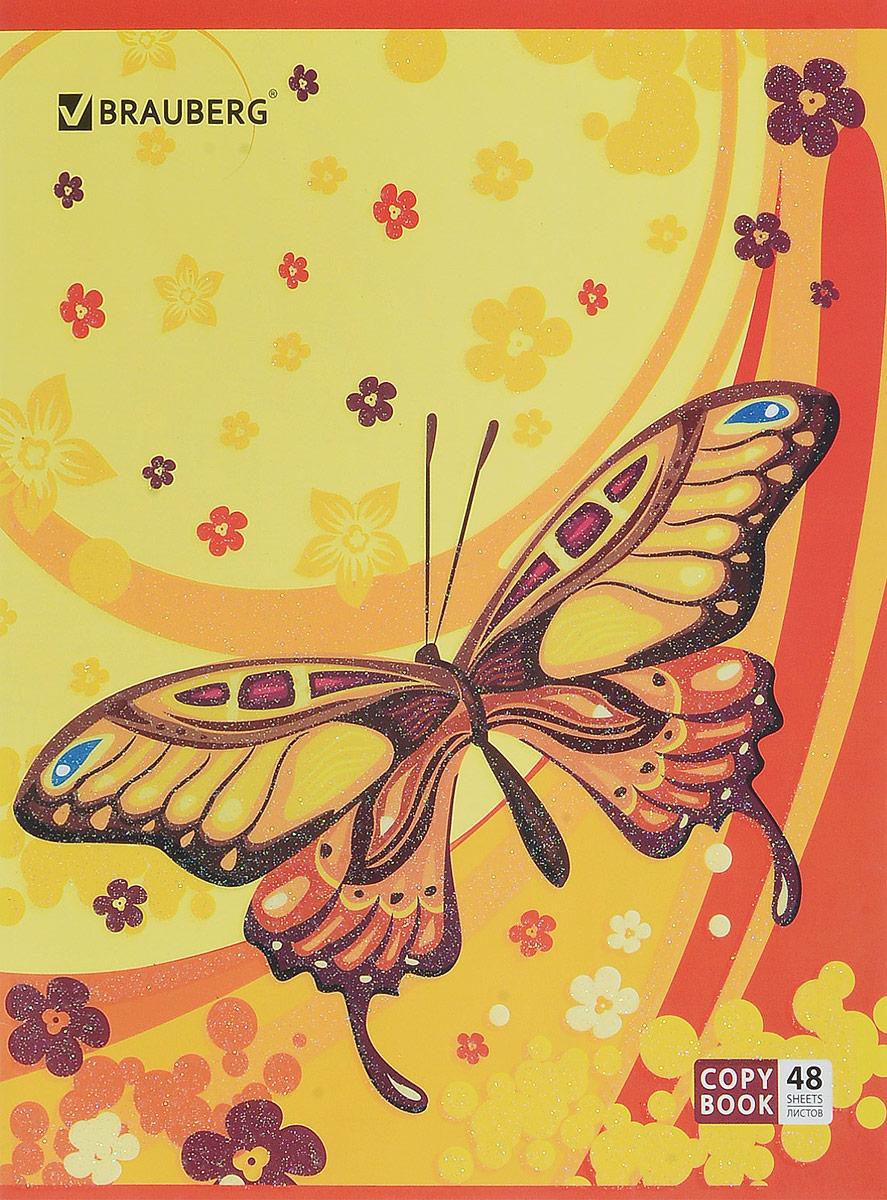 Brauberg Тетрадь Бабочки 48 листов в клетку цвет желтый красный401837_желтый, красныйТетрадь Brauberg Бабочки подойдет как школьнику, так и студенту. Обложка, выполненная из плотного картона, позволит сохранить тетрадь в аккуратном состоянии на протяжении всего времени использования.Внутренний блок тетради, соединенный металлическими скрепками, состоит из 48 листов белой бумаги. Стандартная линовка в клетку голубого цвета дополнена полями.