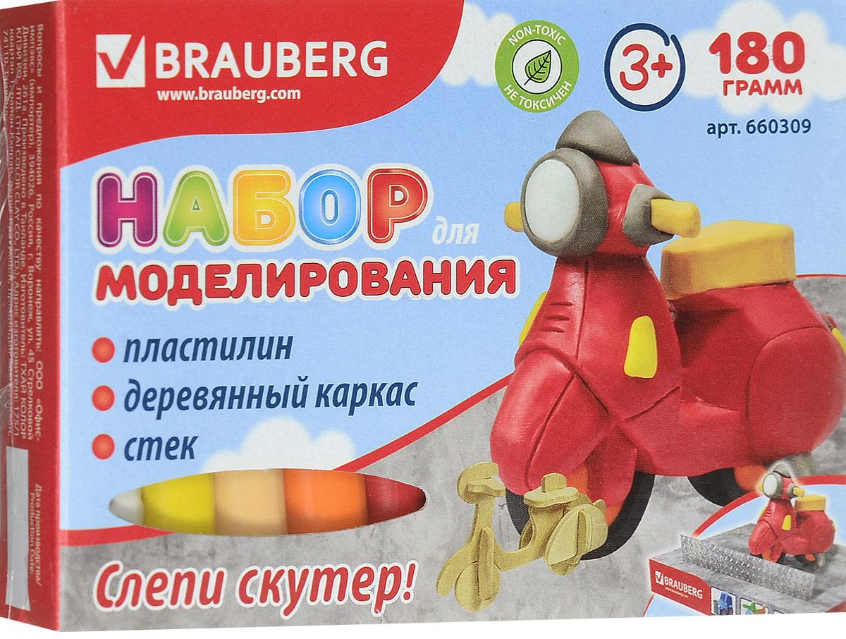 Brauberg Пластилин 10 цветов + заготовка Транспортное средство Скутер660309_скутерНабор Brauberg состоит из пластилина высокого качества ярких цветов, сборной деревянной основы и стека. Способствует развитию мелкой моторики, пространственного воображения, а также дарит много положительных эмоций.