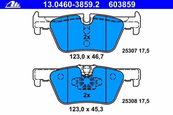 Комплект тормозных колодокAte 13.0460-3859.213.0460-3859.2