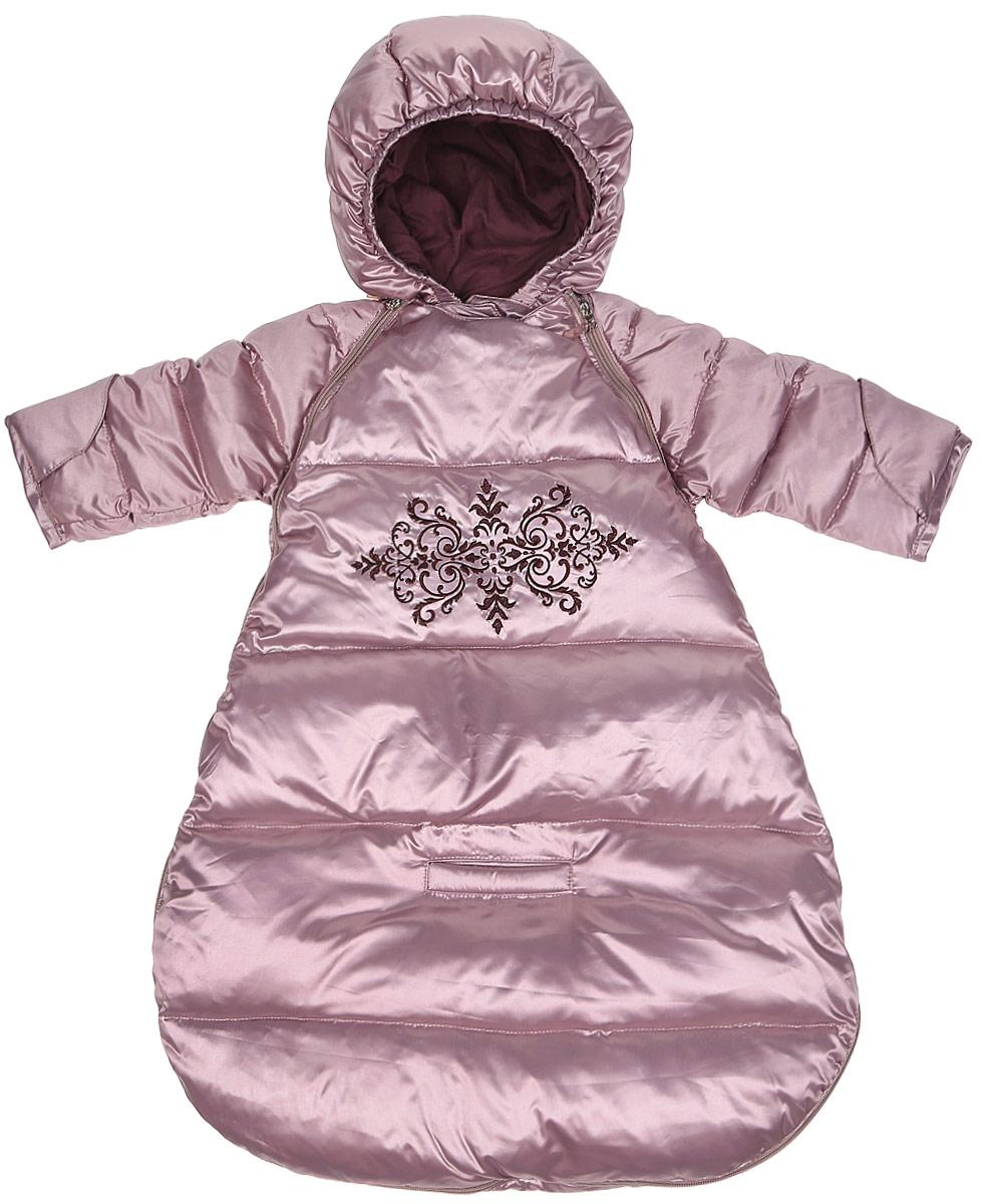 Спальный мешок для новорожденных Ёмаё, цвет: сиреневый. 68-117. Размер 5668-117Конверт для новорожденного на натуральном пуху – 85% и перо 15% (плотность набивки - 220 гр/м кв) из тонкой лёгкой курточной ткани (пропитка только WR). Изделие предусматривает перевозку ребёнка в автомобильном кресле (есть отверстия для ремня). По лицевому срезу капюшона – резинка. Ручки ребёнка можно закрыть рукавичкой, притачанной к низку рукава. Горлышко дополнительно закрывает внутренний подборт, ширина горловины регулируется с помощью контактной ленты Спереди имеется оригинальная вышивка. Температурный режим до минус 25-30 градусов.