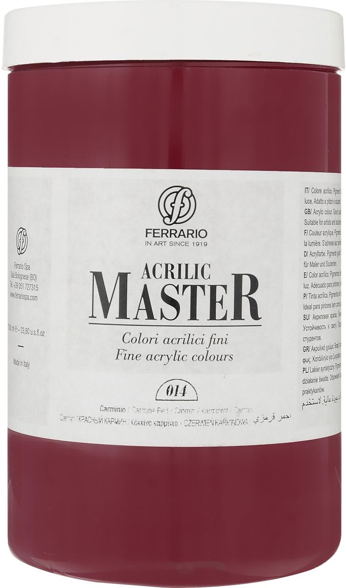 Ferrario Краска акриловая Acrilic Master цвет №14 кармин красныйBM0979E014Акриловые краски серии ACRILIC MASTER итальянской компании Ferrario. Универсальны в применении, так как хорошо ложатся на любую обезжиренную поверхность: бумага, холст, картон, дерево, керамика, пластик. При изготовлении красок используются высококачественные пигменты мелкого помола. Краска быстро сохнет, обладает отличной укрывистостью и насыщенностью цвета. Работы, сделанные с помощью ACRILIC MASTER, не тускнеют и не выгорают на солнце. Все цвета отлично смешиваются между собой и при необходимости разбавляются водой. Для достижения необходимых эффектов применяют различные медиумы для акриловой живописи. В серии представлено 50 цветов.