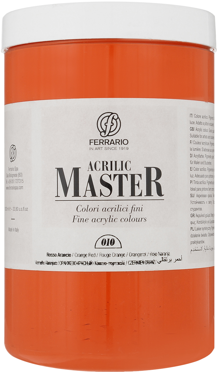 Ferrario Краска акриловая Acrilic Master цвет №10 оранжевый красный BM0979E010BM0979E010Акриловые краски серии Acrilic Master итальянской компании Ferrario универсальны в применении, так как хорошо ложатся на любую обезжиренную поверхность: бумага, холст, картон, дерево, керамика, пластик.При изготовлении красок используются высококачественные пигменты мелкого помола. Краска быстро сохнет, обладает отличной укрывистостью и насыщенностью цвета. Работы, выполненные с помощью Acrilic Master, не тускнеют и не выгорают на солнце. Все цвета отлично смешиваются между собой и при необходимости разбавляются водой. Для достижения необходимых эффектов применяют различные медиумы для акриловой живописи.В серии представлено 50 цветов.