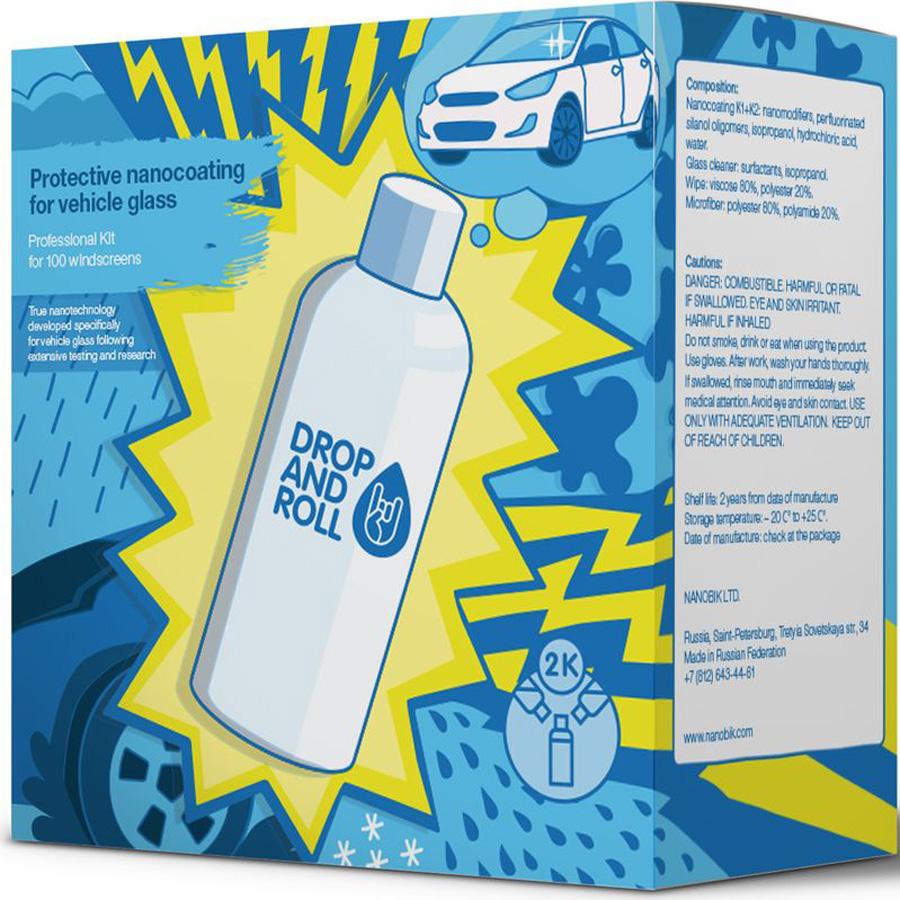 Купить Защитное нанопокрытие для стекла Drop'n'Roll , двухкомпонентное, 200 мл