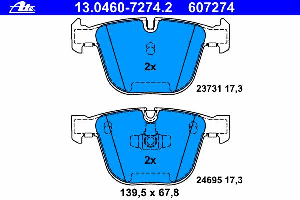Комплект тормозных колодокAte 13.0460-7274.213.0460-7274.2