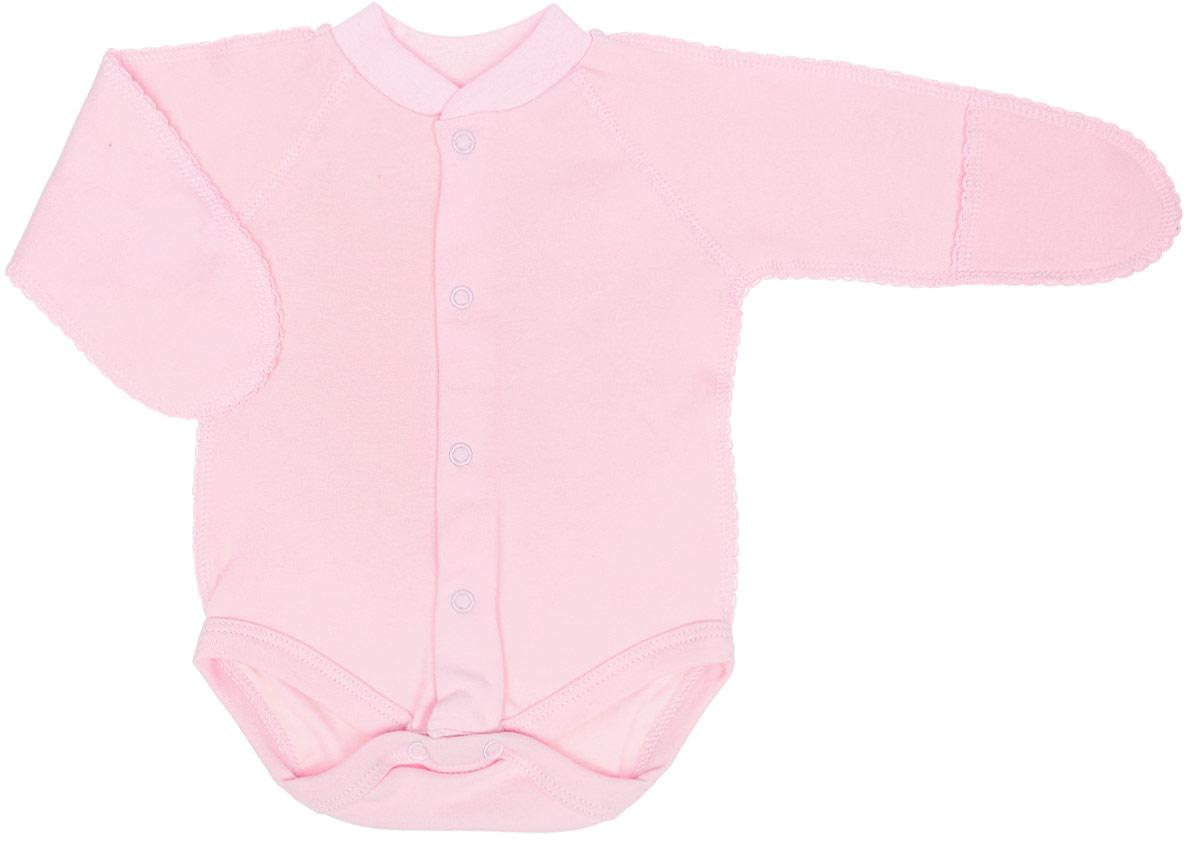 Боди детское Фреш стайл, цвет: розовый. 39-329. Размер 50, 0-1 месяц боди детское hudson baby hudson baby боди цыплёнок 3 шт бирюзово розовый