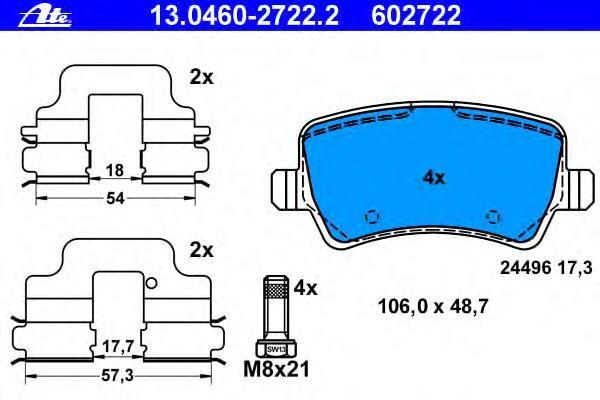 Колодки тормозныеAte 13.0460-2722.213.0460-2722.2