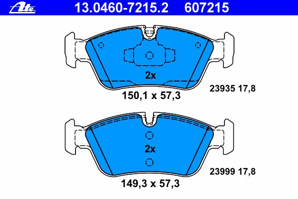 Колодки тормозные дисковыеAte 13.0460-7215.213.0460-7215.2