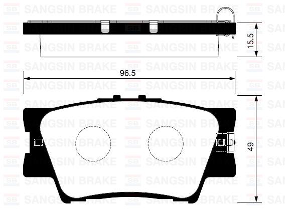 Тормозные колодки дисковые Sangsin SP2081SP2081Колодки тормозные задние Sangsin. SP2081