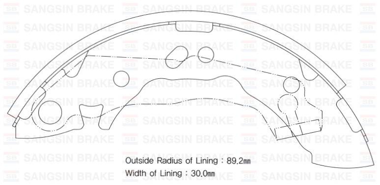 Колодки тормозные барабанные Sangsin, комплект 4 шт. SA062SA062