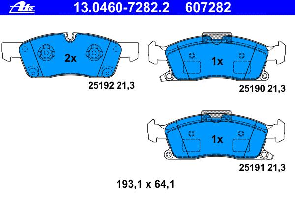 Колодки передние Ate 13.0460-7282.213.0460-7282.2