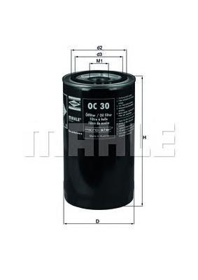 Масляный фильтр Mahle/Knecht OC30OC30Фильтр масляный VOLVO F10/F12/F6/FH12 Mahle/Knecht. OC30