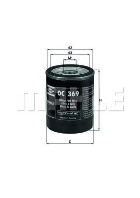 Масляный фильтр Mahle/Knecht OC369OC369Фильтр масляный MITSUBISHI: COLT VI 04-, SMART: FORFOUR 04- Mahle/Knecht. OC369