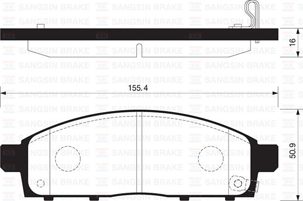 Колодки тормозные дисковые Sangsin, передние. SP1361SP1361