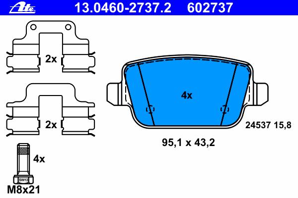 Комплект тормозных колодокAte 13.0460-2737.213.0460-2737.2