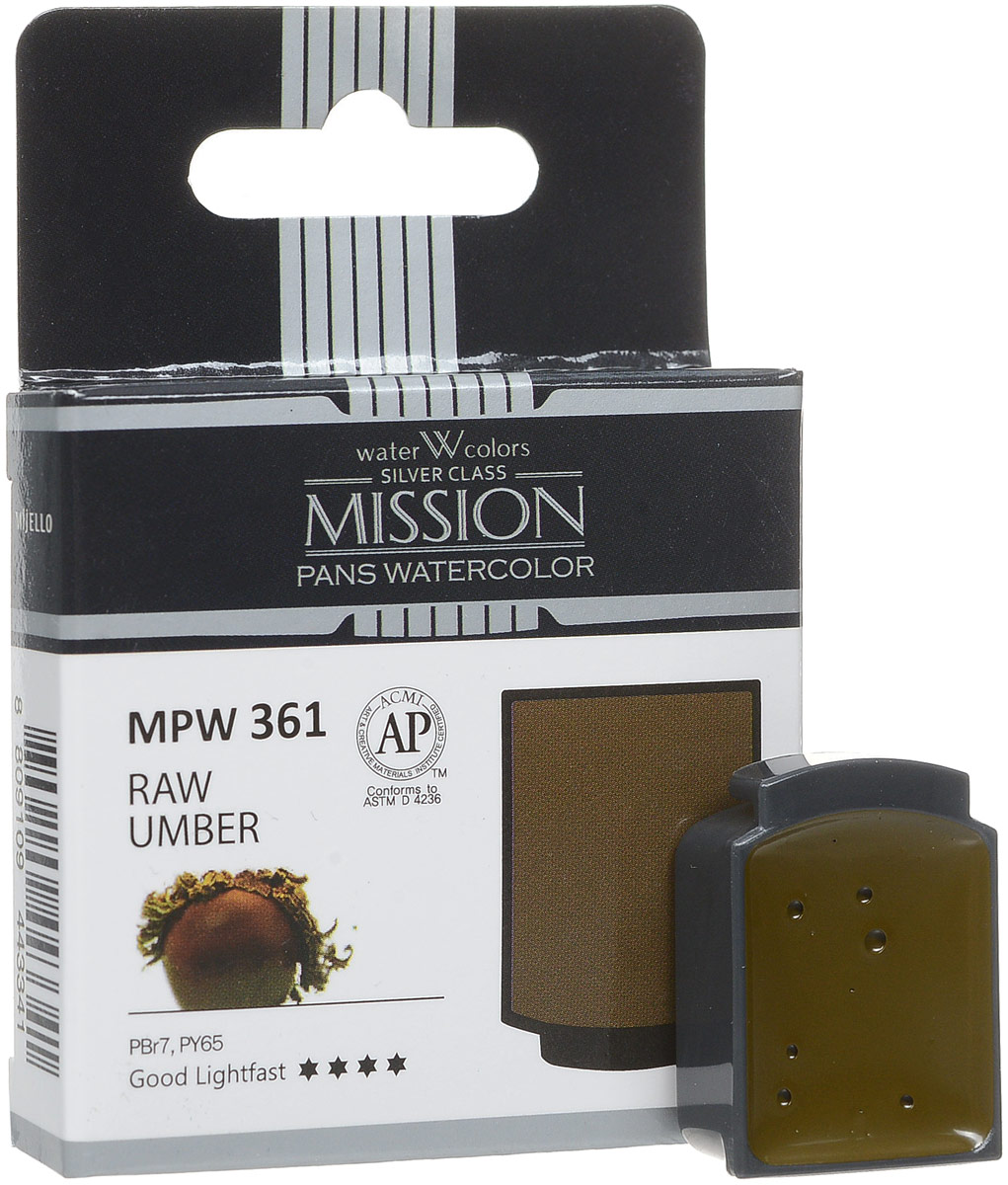 Mijello Акварель Mission Silver Pan 361 Умбра натуральная 2 мл MPW-361