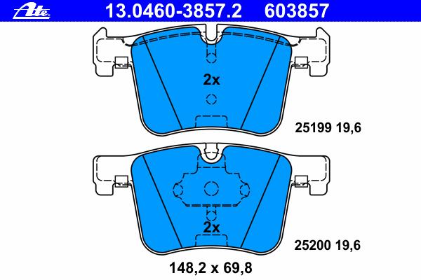 Комплект тормозных колодокAte 13.0460-3857.213.0460-3857.2
