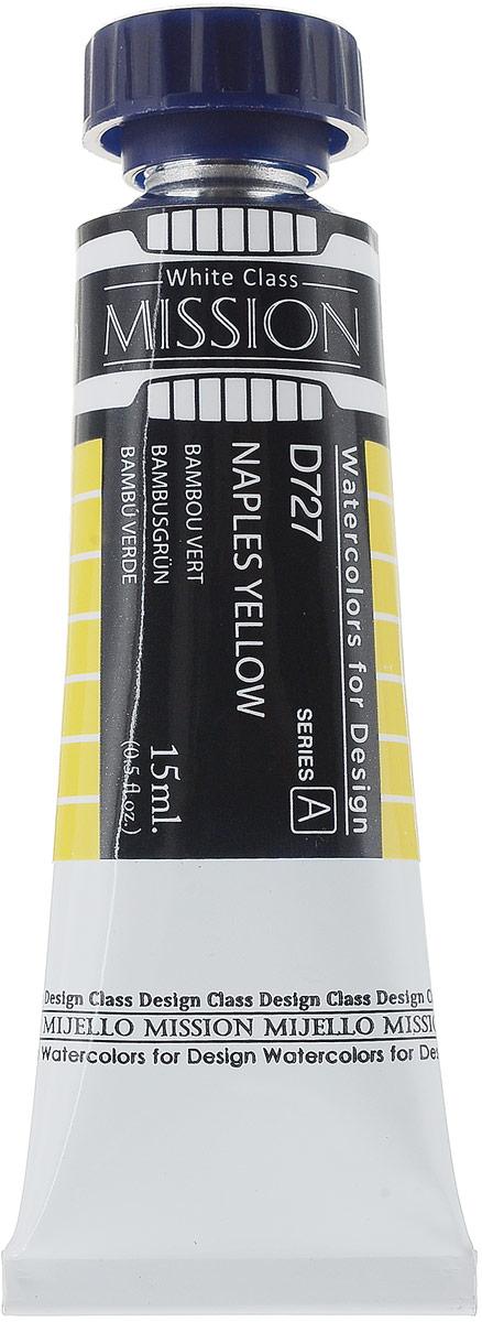 Mijello Акварель Mission White D727 Желтый неаполитанский 15 млMWC-D727Серия акварельных красок Корейского производителя Mijello - Mission White состоит из 51 цвета. Эта серия акварели была создана компанией Mijello в сотрудничестве с экспертами в области акварельной живописи. В этой серии есть 2 специальных плотных цвета в больших тубах - белый и черный. Смешав акварель с этими цветами, вы получите плотный матовый слой и сможете работать в постерных техниках.Цвета акварели серии Mission White - это смеси высококачественных пигментов тонкого помола с высококачественными компонентами и гуммиарабиком. Эти краски предлагаются в традиционной для Корейских производителей тубах по 15мл. Используйте краски Mijello серии Mission Gold для акварельной живописи по мокрому, они идеально подойдут для подобной техники работы с акварелью. Акварель Mijello Mission White будет отличным выбором как начинающему художнику, так и профессионалу.