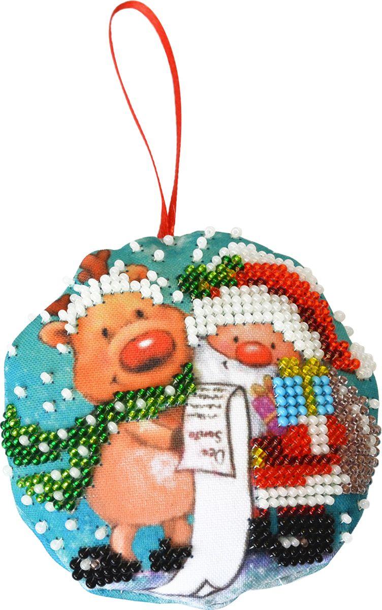 """Фото Набор для вышивания бисером Созвездие """"Новогодняя игрушка. Дедушка Мороз"""", 8,5 х 8,5 см"""