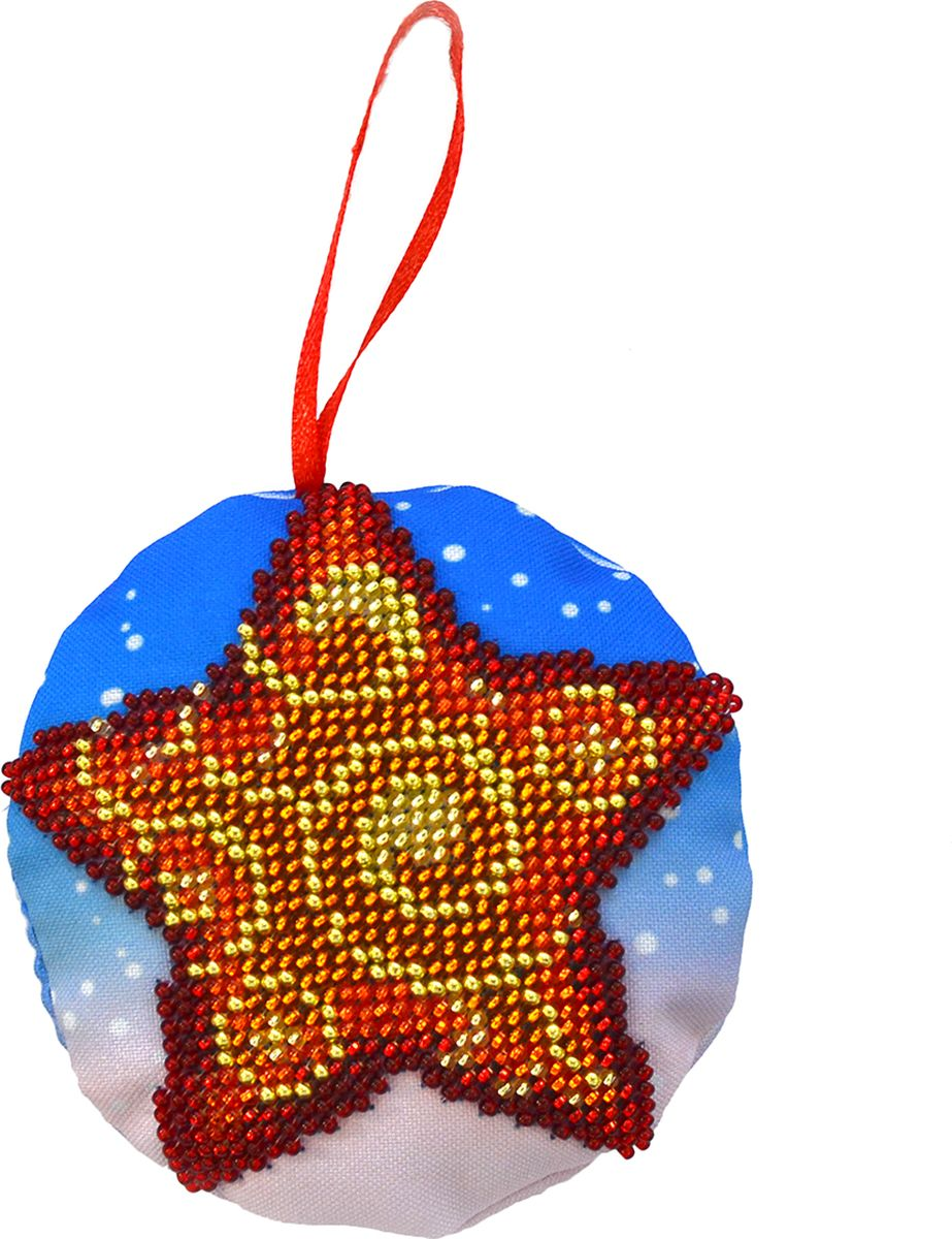 """Фото Набор для вышивания бисером Созвездие """"Новогодняя игрушка. Звездочка"""", 8,5 х 8,5 см"""