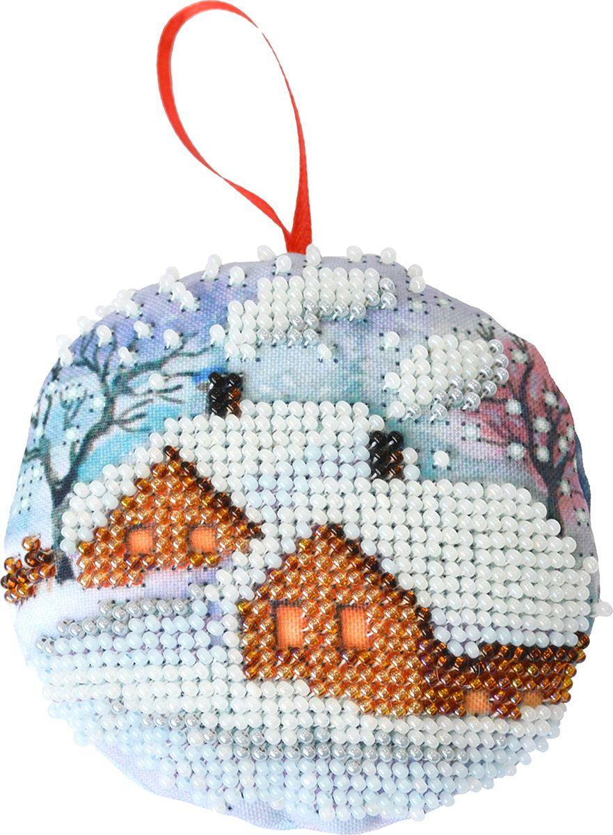 """Набор для вышивания бисером Созвездие """"Новогодняя игрушка. Зимний теремок"""", 8,5 х 8,5 см"""