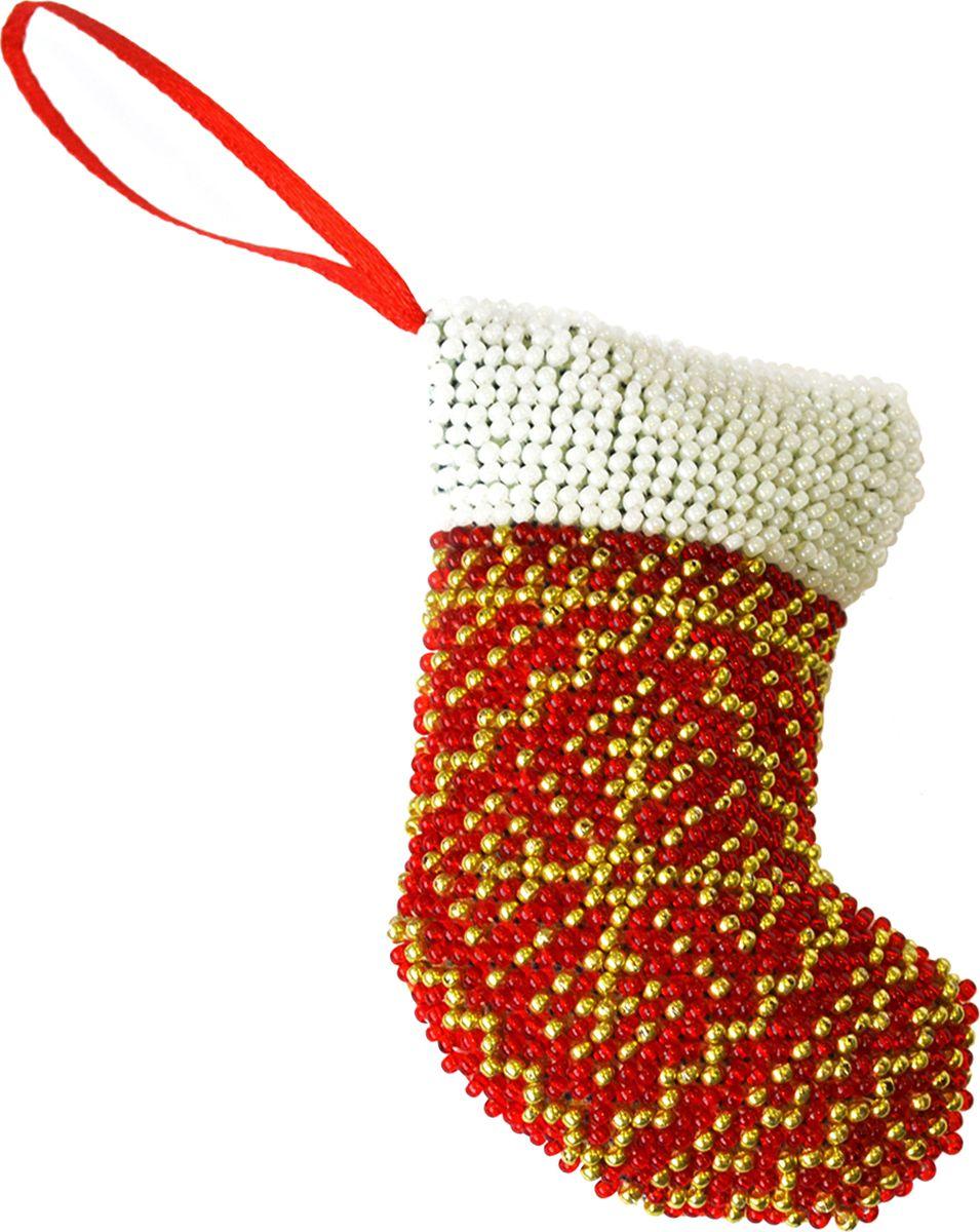 """Набор для вышивания бисером Созвездие """"Новогодняя игрушка. Сапожок"""", 9 х 6 см"""