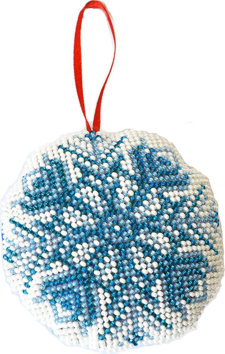 """Набор для вышивания бисером Созвездие """"Новогодняя игрушка. Снежинка"""", 8,5 х 8,5 см"""