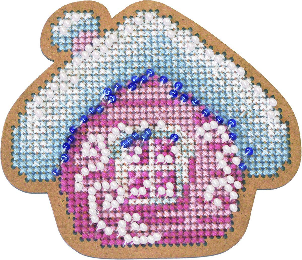 """Набор для вышивания крестом Созвездие """"Новогодняя игрушка. Избушка"""", 7 х 8 см"""