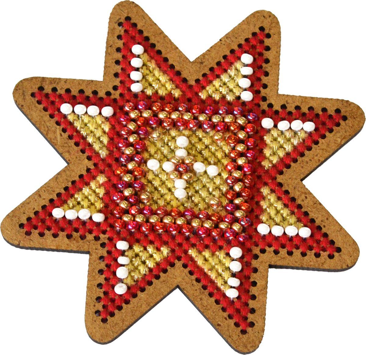 Набор для вышивания крестом Созвездие Новогодняя игрушка. Золотая звезда, 7,5 х 7,5 см набор для вышивания крестом rto загадай желание 20 х 26 см