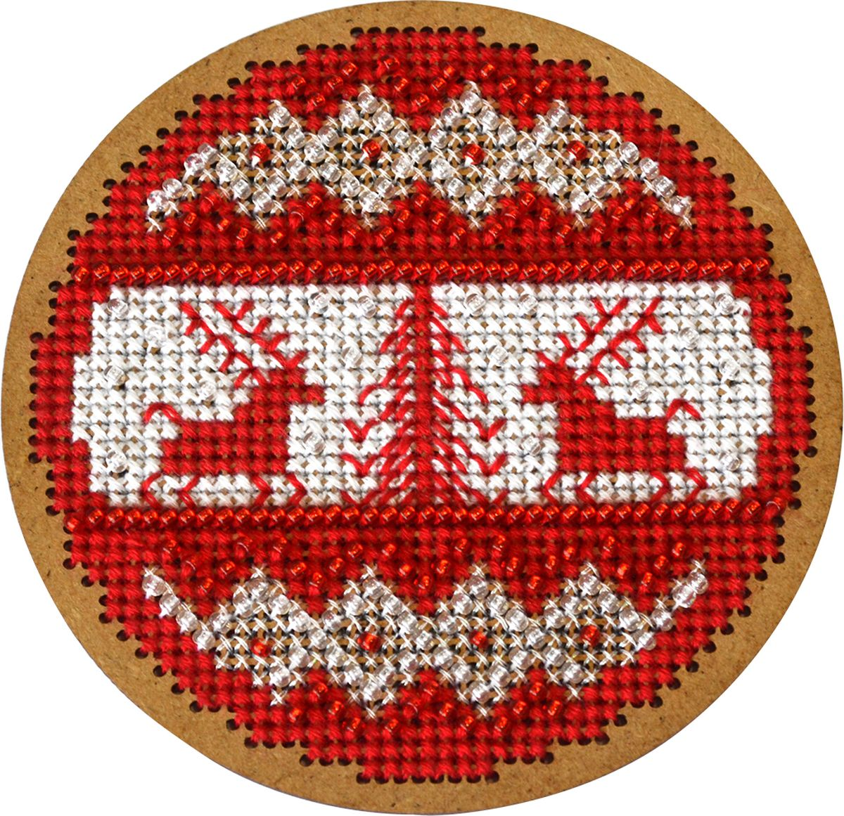 Набор для вышивания крестом Созвездие Новогодняя игрушка. Скандинавский узор, 8,5 х 8,5 см набор для вышивания крестом luca s дневной котенок 5 5 х 10 см