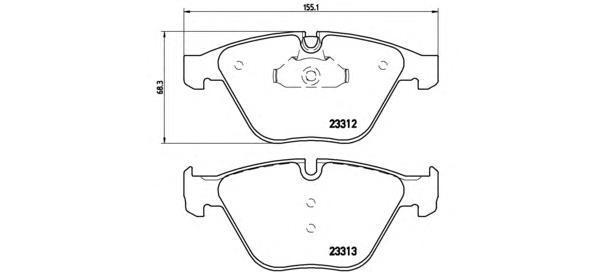 Тормозные колодки дисковые Brembo P06054P06054Колодки тормозные передние Brembo BMW 5 E60. P06054
