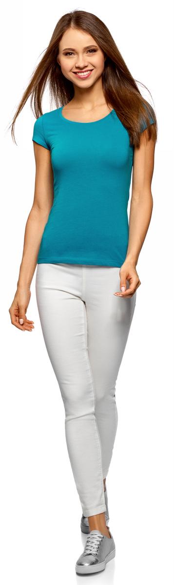 Футболка женская oodji Ultra, цвет: бирюзовый. 14701026B/46147/7300N. Размер XS (42)14701026B/46147/7300NБазовая футболка от oodji выполнена из эластичного хлопкового трикотажа. Модель с короткими рукавами и круглым вырезом горловины на спине оформлена вырезом-капелькой.