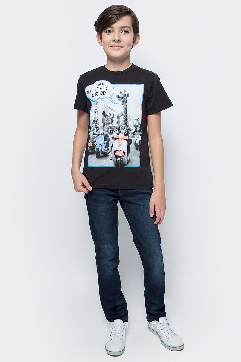 Футболка для мальчика Sela, цвет: черный. Ts-811/109-7331. Размер 128 футболка для мальчика sela цвет светло серый меланж ts 811 109 7331 размер 152