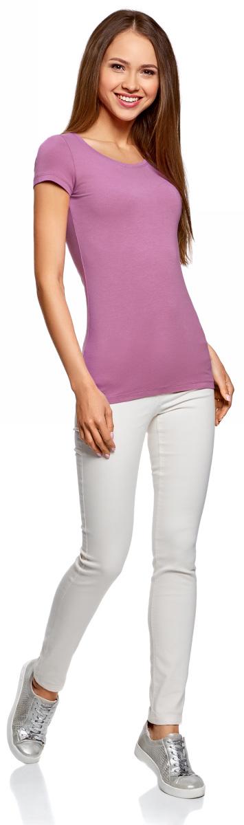 Футболка женская oodji Ultra, цвет: голубой, лиловый, светло-серый, 3 шт. 14701005T3/46147/19ATN. Размер M (46) футболка женская oodji ultra цвет светло серый меланж 3 шт 14701005t3 46147 2000m размер xl 50