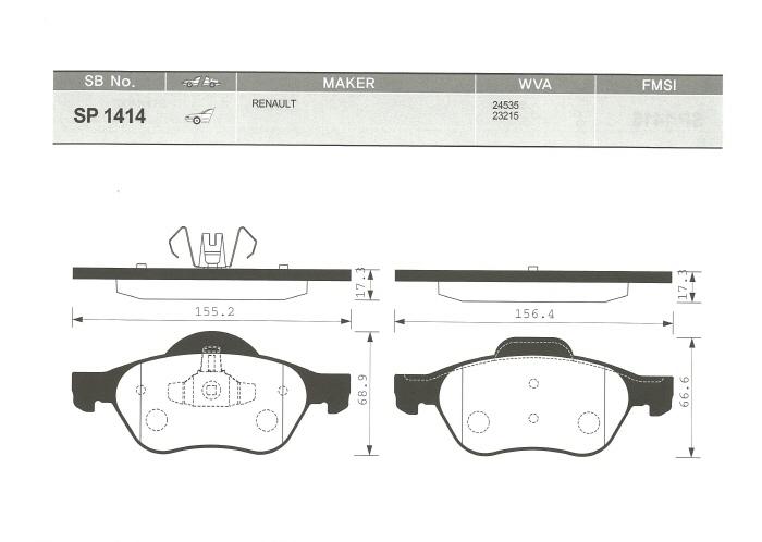 Тормозные колодки дисковые Sangsin SP1414SP1414Колодки тормозные передние Sangsin. SP1414