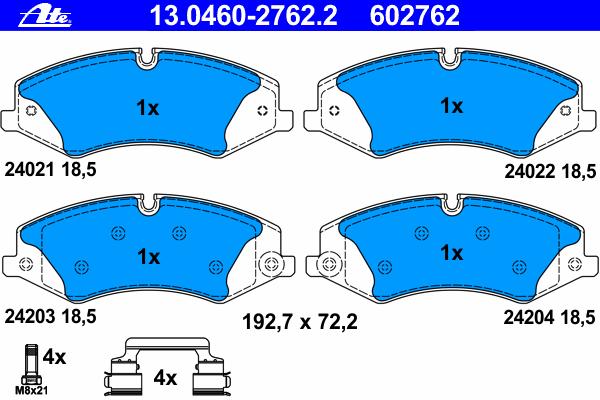 Колодки дисковые передниеAte 13.0460-2762.213.0460-2762.2