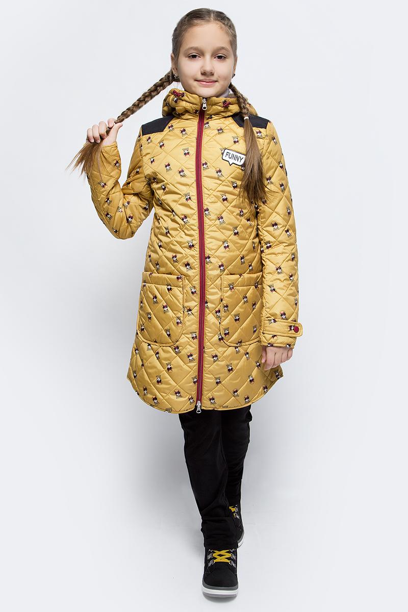 Пальто для девочки Boom!, цвет: желтый. 70326_BOG_вар.2. Размер 116, 5-6 лет70326_BOG_вар.2Пальто для девочки Boom! c капюшоном и длинными рукавами выполнено из прочного полиэстера. Модель застегивается на застежку-молнию спереди. Объем капюшона регулируется при помощи шнурка-кулиски со стопперами. Изделие дополнено двумя накладными карманами на кнопках. Манжеты рукавов дополнены хлястиками с застежками-кнопками. Нижняя часть спинки оформлена фирменной нашивкой. Пальто дополнено спереди аппликацией.