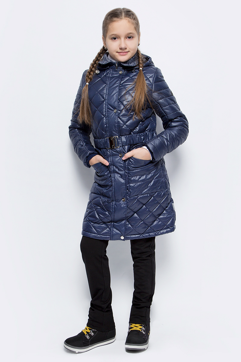 Пальто для девочки Boom!, цвет: темно-синий. 70325_BOG_вар.2. Размер 122, 7-8 лет70325_BOG_вар.2