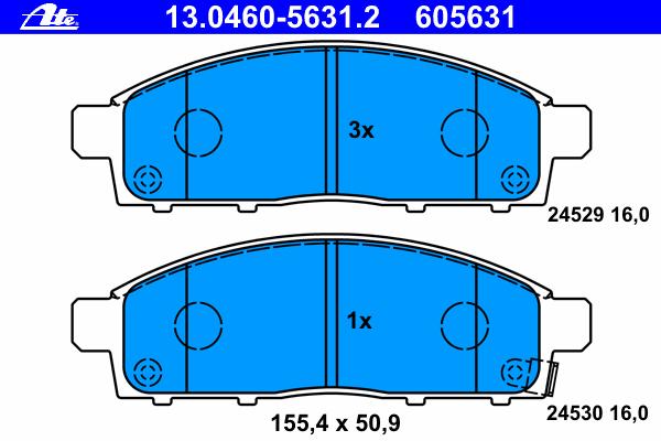 Комплект тормозных колодокAte 13.0460-5631.213.0460-5631.2