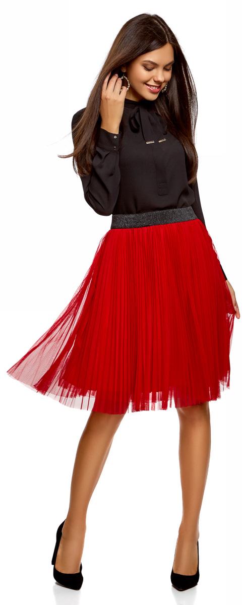 Юбка женская oodji Ultra, цвет: красный, черный. 13G00008/24205/4529B. Размер 42-170 (48-170)13G00008/24205/4529B