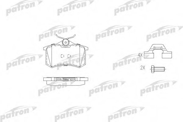 Тормозные колодки дисковые Patron PBP541PBP541Колодки тормозные дисковые задн AUDI: A4 95-00, A4 Avant 95-01, PEUGEOT: 405 I 87-93, 405 I Break 88 Patron. PBP541