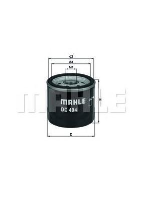 Масляный фильтр Mahle/Knecht OC494OC494Фильтр масляный FIAT: STILO 1.6 01- Mahle/Knecht. OC494