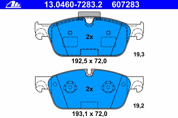 Колодки дисковые передниеAte 13.0460-7283.213.0460-7283.2