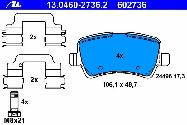 Комплект тормозных колодокAte 13.0460-2736.213.0460-2736.2