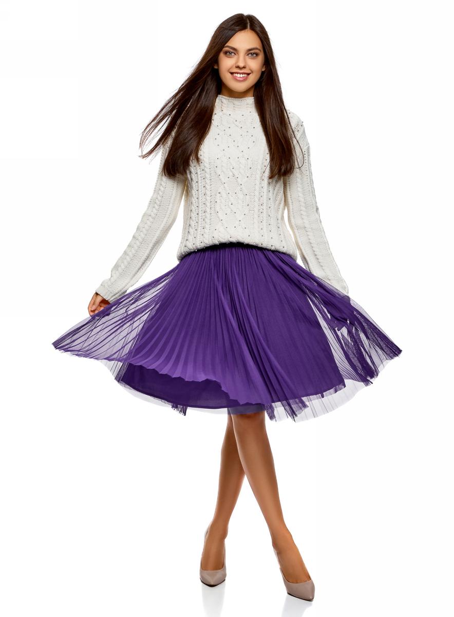 Юбка oodji Ultra, цвет: фиолетовый. 13G00008/24205/8329B. Размер 36-170 (42-170)13G00008/24205/8329BМодная плиссированная юбка от oodji выполнена из высококачественного материала. Модель на эластичном поясе.