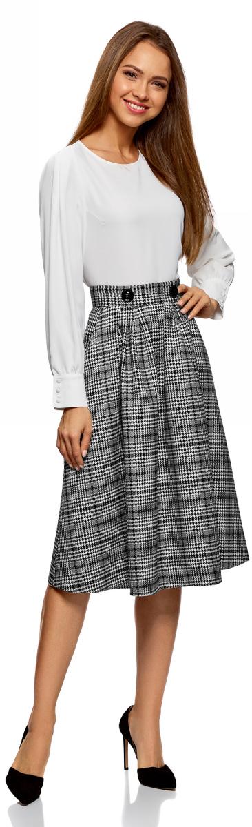 Юбка oodji Ultra, цвет: черный, белый. 11600433/45768/2912C. Размер 34-170 (40-170) пуловеры oodji пуловер