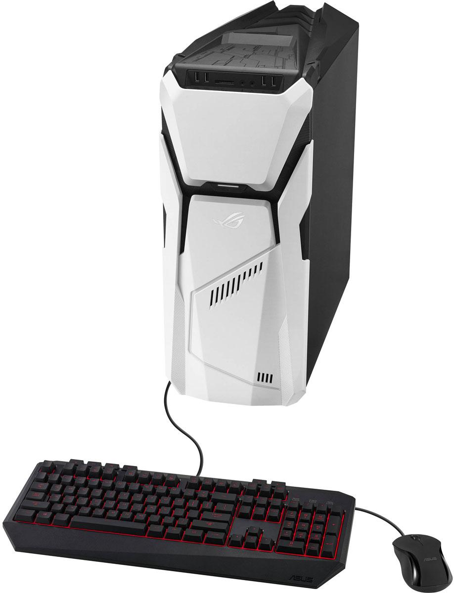 ASUS ROG Strix GD30CI-RU005T, Black White настольный компьютерGD30CI-RU005TКомпания ASUS представляет новый мощный настольный компьютер для геймеров ROG Strix GD30, выполненный в стильном черно-белом корпусе. Отличительной особенностью новинки является возможность смены передней панели корпуса.Крупные вентиляторы на фронтальной панели и у основания корпуса, а также изолированный отсек блока питания обеспечивают улучшенный отвод тепла и повышенную эффективность охлаждения. Эксклюзивная технология трёхэтапного разгона ASUS Aegis III позволяет просто и безопасно повышать частоту центрального и графического процессоров, а также оперативной памяти, регулировать скорость вращения вентиляторов, настраивать фирменную подсветку ASUS Aura RGB.Стильный дизайн корпуса ROG Strix GD30 дополнен эксклюзивной светодиодной подсветкой ASUS Aura RGB с поддержкой до 8 млн. оттенков и множества световых эффектов. Кроме того, пользователь может выбрать один из нескольких вариантов пульсации и 10 цветовых вариантов подсветки материнской платы, а особый акцент всей системе добавят светодиоды на кулерах. Фирменное приложение ASUS Aegis III помогает отслеживать технические параметры системы. Оно мониторит уровень загрузки центрального процессора и подсистемы памяти, статус Интернет-подключения. Можно даже изменить скорость вращения вентиляторов или настроить подсветку. В случае перегрева системы или скачка напряжения приложение сразу автоматически предупредит об этом. Помимо этого, в пакет программного обеспечения также входит утилита XSplit Gamecaster для трансляции и записи процесса игры. Новейший программный пакет Sonic Studio служит для гибкой настройки всех нюансов звучания и включает специальные инструменты для улучшения качества IP-телефонии или записи звука. Прозрачная боковая панель ROG Strix GD30 не только позволит увидеть невероятные эффекты светодиодной подсветки ASUS Aura, реализованной на материнской плате, но также имеет встроенный металлический экран, напоминающий пчелиные сот