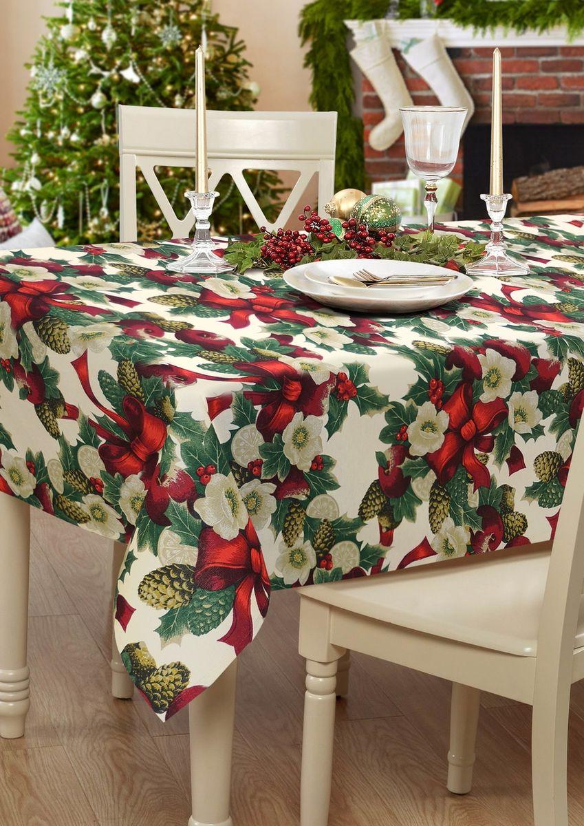 """Прямоугольная скатерть Kauffort """"Рождество"""" органично впишется в праздничный интерьер вашей кухни, а оригинальный дизайн удовлетворит даже самый изысканный вкус. Изделие выполнено из полиэстера и хлопка. По краю скатерть оформлена кантом. Скатерть поможет создать атмосферу уюта и домашнего тепла в интерьере вашей кухни, а также станет настоящим украшением праздничного стола.  Состав: 70% хлопок, 30% полиэстер. br>"""