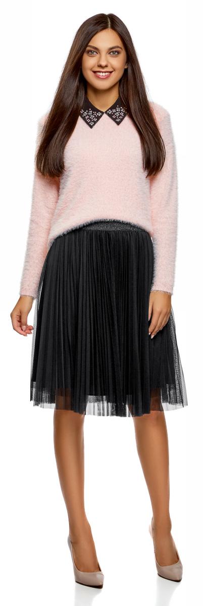Юбка oodji Ultra, цвет: черный. 13G00008/24205/2929B. Размер 40-170 (46-170)13G00008/24205/2929BМодная плиссированная юбка от oodji выполнена из высококачественного материала. Модель на эластичном поясе.