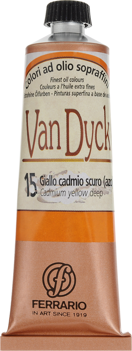 Ferrario Краска масляная Van Dyck цвет №15 кадмий желтый темныйAV0017CO15Масляные краски серии VAN DYCK итальянской компании Ferrario изготавливаются из натуральных мелко тертых пигментов с добавлением качественного связующего материала. Благодаря этому масляные краски VAN DYCK обладают превосходной светостойкостью, чистотой цветов и оттенков. Краски можно разбавлять льняным маслом, терпентином или нефтяными разбавителями. Все цвета хорошо смешиваются между собой. В серии масляных красок VAN DYCK представлено 87 различных оттенков, а также 6 металлических оттенков. Дополнительные характеристики: Изготавливаются из натуральных мелко тертых пигментов с добавлением качественного связующего материала; Краски хорошо смешиваются между собой.