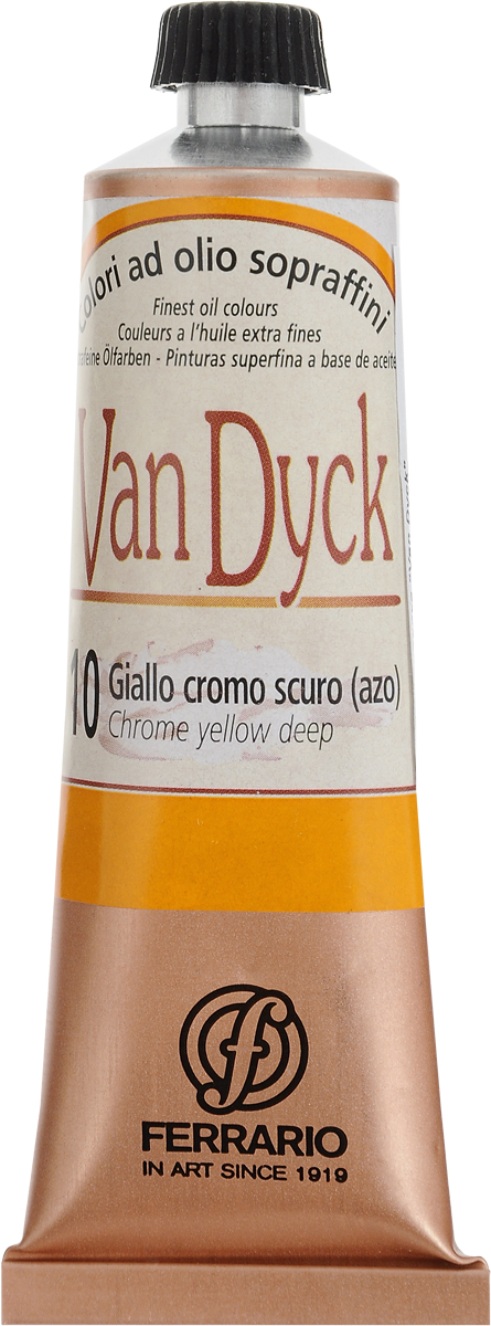 Ferrario Краска масляная Van Dyck цвет №10 хром желтый темныйAV0017CO10Масляные краски серии VAN DYCK итальянской компании Ferrario изготавливаются из натуральных мелко тертых пигментов с добавлением качественного связующего материала. Благодаря этому масляные краски VAN DYCK обладают превосходной светостойкостью, чистотой цветов и оттенков. Краски можно разбавлять льняным маслом, терпентином или нефтяными разбавителями. Все цвета хорошо смешиваются между собой. В серии масляных красок VAN DYCK представлено 87 различных оттенков, а также 6 металлических оттенков.Дополнительные характеристики:Изготавливаются из натуральных мелко тертых пигментов с добавлением качественного связующего материала;Краски хорошо смешиваются между собой.